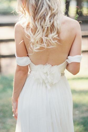 Vestido de novia Espalda Descubierta Playa Escote con Hombros caídos - Página 3