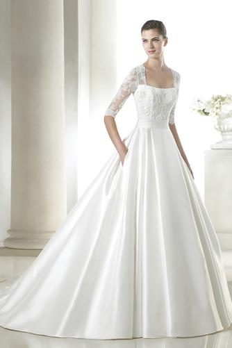 Vestido de novia Mangas Illusion Escote Cuadrado Sala Alto cubierto - Página 1