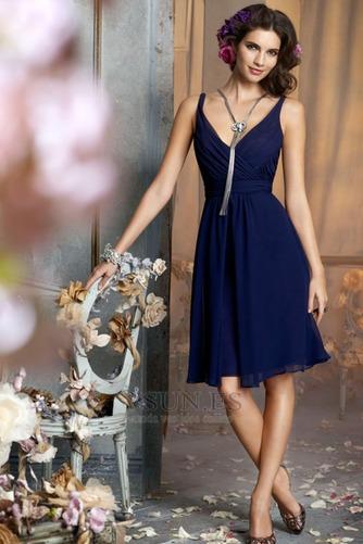 Vestido de dama de honor Verano Escote en V adulto Baja escote en V Gasa Natural - Página 1