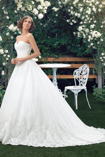 Vestido de novia Botón Escote Corazón Corte-A Encaje Espalda Descubierta - Página 3