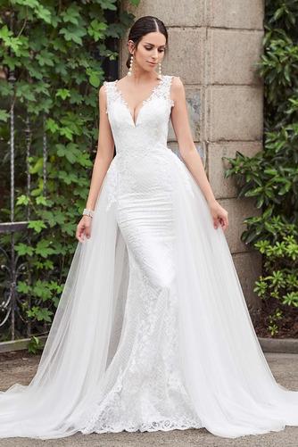 Vestido de novia Espalda Descubierta Drapeado sexy Sin mangas Corte Recto - Página 1