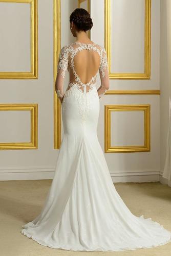 Vestido de novia Encaje Corte Recto Natural Espalda Descubierta Fuera de casa - Página 3