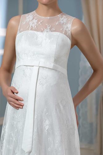 Vestido de novia Drapeado Pura espalda Joya Encaje Capa de encaje Sin mangas - Página 4