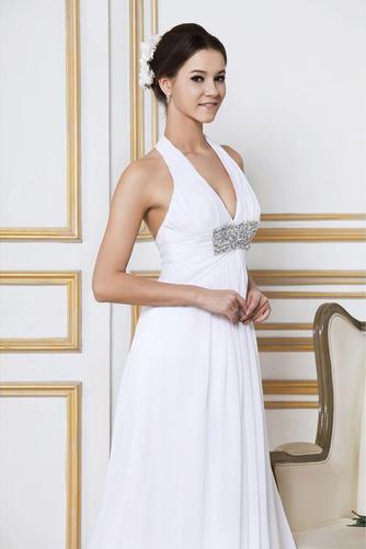 Vestido de novia Verano Gasa Cola Barriba Sin mangas Imperio Cintura - Página 4