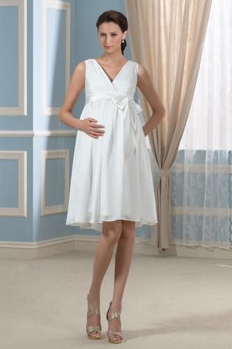Vestido de novia Arco Acentuado Verano Gasa Drapeado Blusa plisada Hasta la Rodilla - Página 3