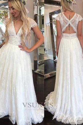 Vestido de novia Espalda medio descubierto Escote en V Falta Hasta el suelo - Página 1