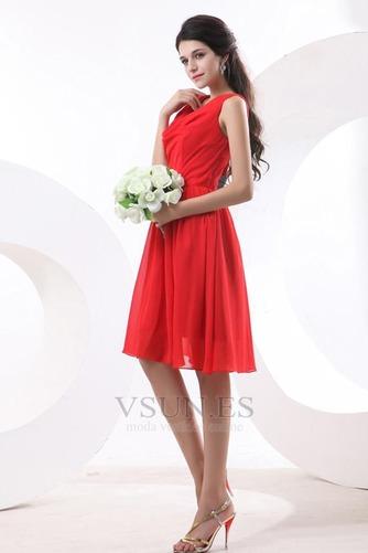 Vestido de dama de honor Volantes Adorno Escote en V Rojo Oscilación Hasta la Rodilla - Página 2