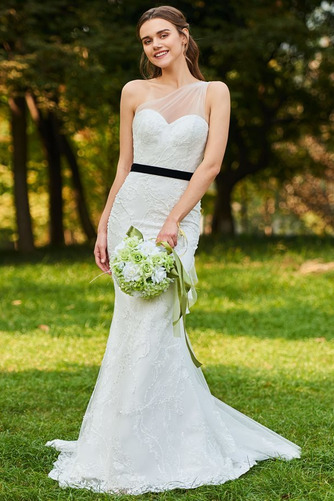 Vestido de novia Moderno Sin mangas Natural Un sólo hombro Lazos Encaje - Página 1