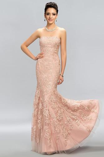 Vestido de noche Elegante Cremallera Encaje Corte-A Sin tirantes Natural - Página 1