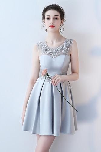 Vestido de dama de honor Cordón primavera Satén Un sólo hombro Sin mangas Bordado - Página 2