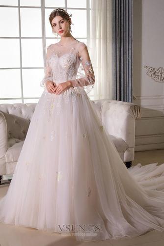 Vestido de novia Sala largo Barco Manga larga tul Natural - Página 1