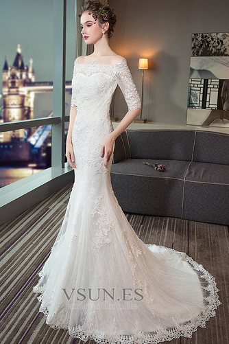 Vestido de novia Capa de encaje Cordón Abalorio Escote con Hombros caídos - Página 4