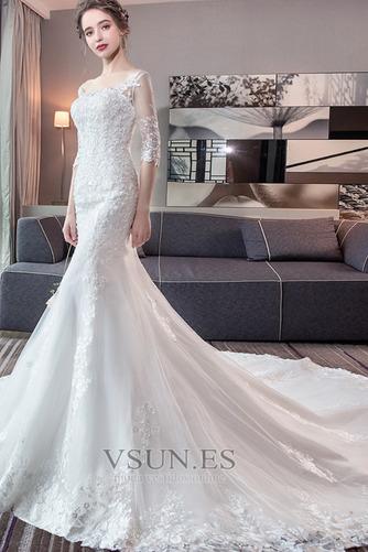 Vestido de novia Corte Sirena Espalda Descubierta Elegante Playa Capa de encaje - Página 1