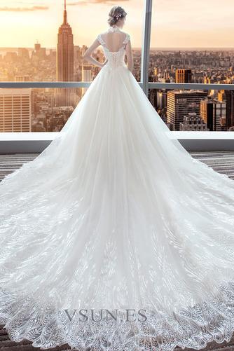 Vestido de novia Encaje Corte-A Natural largo Satén Formal - Página 2