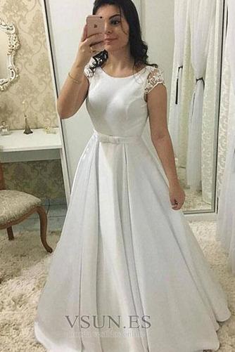 Vestido de novia Lazos Satén Arco Acentuado Joya Invierno largo - Página 1