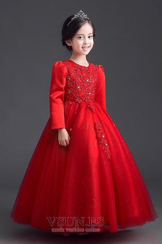 Vestido niña ceremonia Cremallera Joya Satén Arco Acentuado Bordado Formal - Página 4