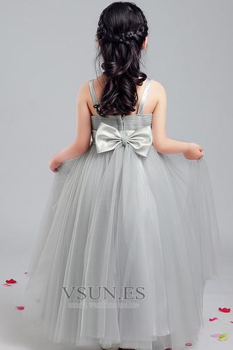 Vestido niña ceremonia Sin mangas Corte-A Arco Acentuado Elegante Hasta la Tibia - Página 2