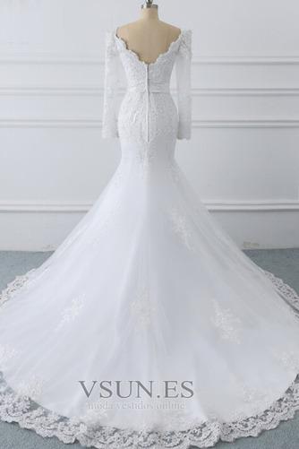 Vestido de novia Manga larga Encaje Triángulo Invertido Cremallera largo - Página 4