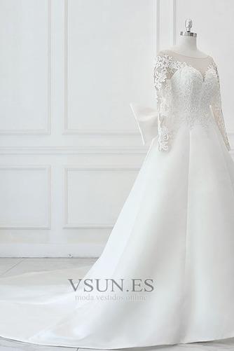Vestido de novia Elegante Otoño Manga larga Apliques Barco Cordón - Página 3