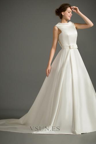 Vestido de novia Sin mangas Lazos Otoño Corte-A Natural Iglesia - Página 1