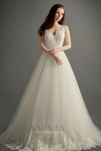 Vestido de novia Invierno Hasta el suelo Sala Apliques Cremallera Corte-A - Página 1