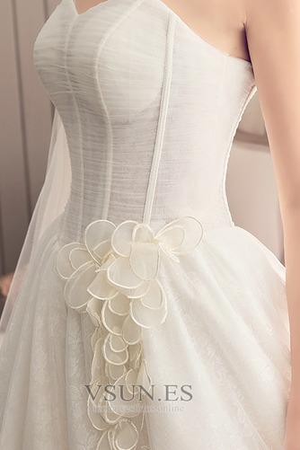 Vestido de novia Elegante Sin mangas Cola Corte Satén Corte-A Apliques - Página 5