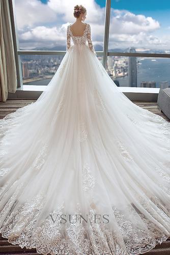 Vestido de novia Manzana largo Natural Cola Real Cordón Camiseta - Página 2