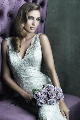 Vestido de novia Clasicos Abalorio Encaje Otoño Sin mangas Sala - Página 2