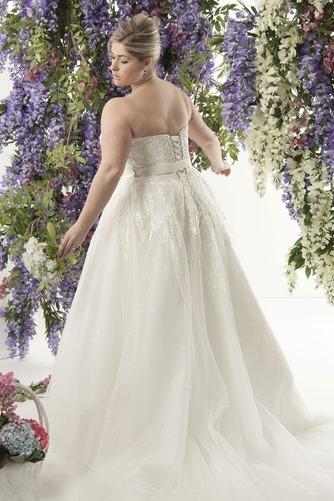Vestido de novia Encaje Fajas largo Natural Escote Corazón Cordón - Página 2