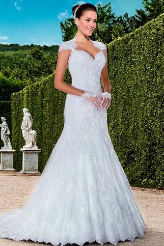Vestido de novia Cola Capilla Cremallera Natural Encaje Apliques Queen Anne - Página 1