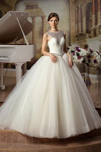 Vestido de novia Sin mangas Sala Joya Otoño Cintura Baja Cinturón de cuentas - Página 1