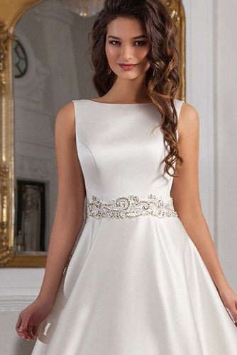 Vestido de novia Sala Cristal Cinturón de cuentas Espalda medio descubierto - Página 3
