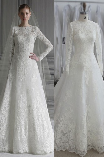 Vestido de novia largo Apliques Joya Cremallera Natural Iglesia - Página 1