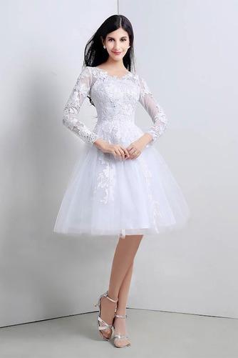 Vestido de novia Apliques Natural Corte-A Alto cubierto Hasta la Rodilla - Página 1