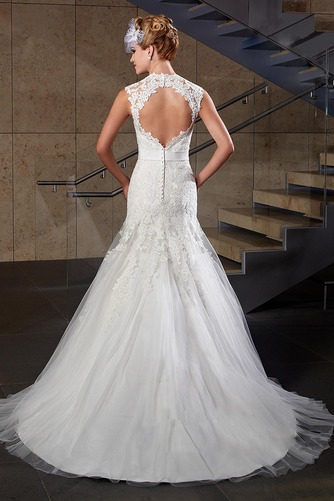 Vestido de novia Corte Sirena Apliques Sin mangas Escote Corazón Satén - Página 2