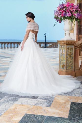 Vestido de novia Abalorio Playa Bola largo primavera Escote con Hombros caídos - Página 2