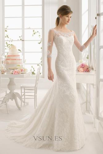 Vestido de novia Corte Sirena Falta Pura espalda Manga de longitud 3/4 - Página 1