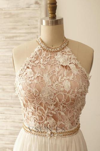 Vestido de novia Encaje Cinturón de cuentas Natural Fuera de casa Corte-A - Página 4