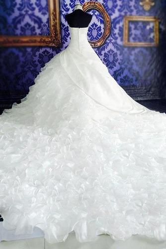 Vestido de novia Natural Corte-A Sin mangas Organza Iglesia Cremallera - Página 4