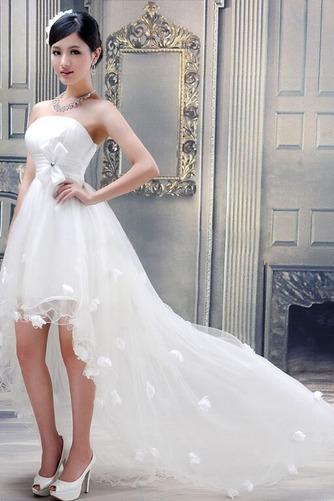 Vestido de novia Sin tirantes Verano Cola Barriba Asimètrico Fuera de casa - Página 1