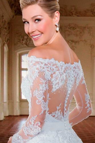 Vestido de novia Cremallera Manga larga Flores Sala Escote con Hombros caídos - Página 4