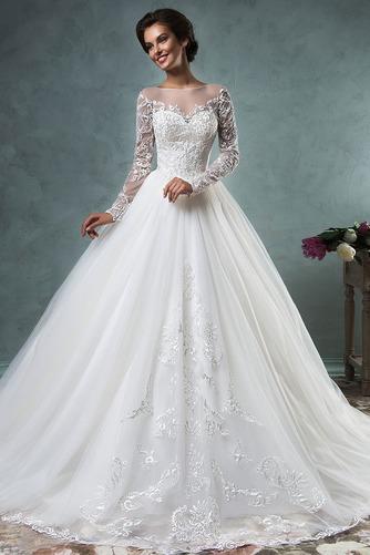 Vestido de novia Iglesia Encaje Natural Cremallera Otoño Manga larga - Página 1