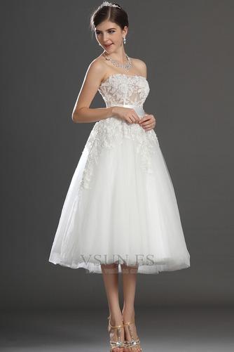 Vestido de novia Romántico tul Blanco Hinchado Abalorio Natural - Página 4