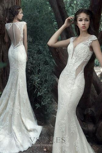 Vestido de novia Tallas pequeñas Pura espalda Sin mangas Natural Verano - Página 1