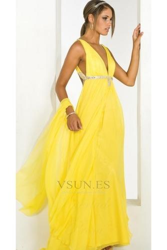 Vestido de fiesta Sin mangas Amarillo Hasta el suelo Abalorio Con Chal - Página 1
