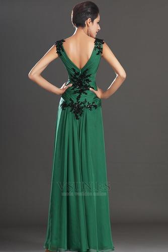Vestidos de noche verde esmeralda Sin mangas Hasta el suelo Baja Escote en V - Página 6