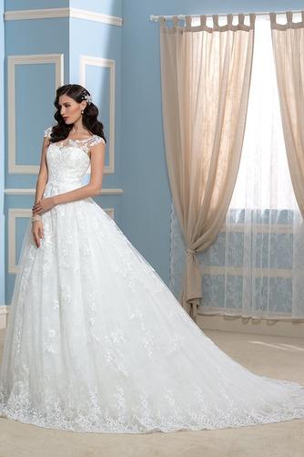 Vestido de novia Encaje Espalda Descubierta Corte-A Sala Otoño Cola Capilla - Página 3