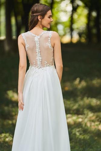 Vestido de novia Romántico Natural Escote en V largo Botón Sin mangas - Página 5