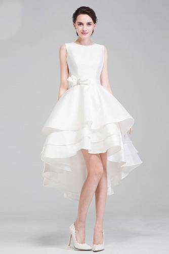 Vestido de novia Satén Playa Romántico Escalonado Natural Delgado - Página 1