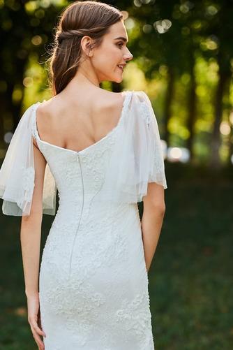 Vestido de novia Playa Corte Sirena Cola Barriba Cremallera tul Queen Anne - Página 5